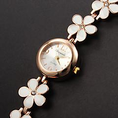 Women's Bracelet Watch Quartz Casual Watch Alloy Band Flower Elegant White