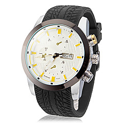 Men's White Dial Black Silicone Band Quartz Analog Wrist Watch (Assorted Colors) Cool Watch Unique Watch