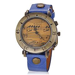 Kvinners Vintage Music Pattern Round Dial PU Band Quartz Analog armbåndsur (assorterte farger)