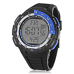 Unisex Multi-Functional Round LCD Digital Black Rubber Band Wrist Watch (Assorted Colors)