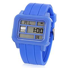 Unisex Multi-Funcional Retângulo LCD Digital Rubber Band relógio de pulso (cores sortidas)