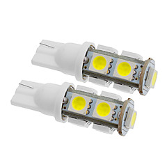 T10 5W 9x5060SMD 350LM 5500-6500K Cool White Light LED Bulb for Car (12V,2pcs)