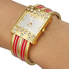 Prostokąt damski Diamante Stop Band, Quartz Dial Bransoletka Watch (Analog różne kolory)
