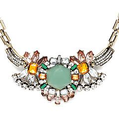 Luxurious Green Rhinestone Crystal Statement Necklace