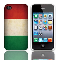 Vintage The Hungarian Flag Pattern Hard Case with 3-Pack Screen Protectors for iPhone 4/4S