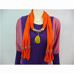 Polyester Cotton Orange Stone vedhæng Tørklæde Halskæde