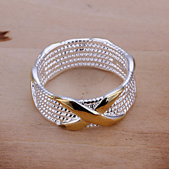 Ring Party / Daily / Casual Jewelry Silver Plated Women Band Rings / Statement Rings 1pc,6 / 7 / 8 / 9 White / Yellow