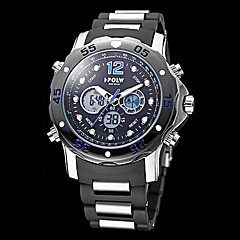 Men's Multi-Functional Military Style Steel Round Dial Rubber Band Analog-Digital Wrist Watch (Assorted Colors) Cool Watch Unique Watch
