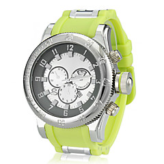 Men's Sport Style Big Silver Case Rubber Band Wrist Watch (Assorted Colors)
