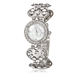 Women's Bracelet Watch Casual Watch Quartz Imitation Diamond Band Heart shape Silver Brand