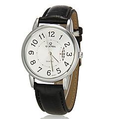 Mannen Kalender ronde wijzerplaat pu lederen band Quartz analoog horloge (verschillende kleuren)