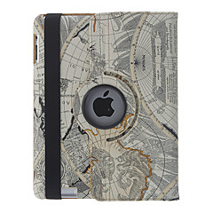 Retro Style The World Navigation Kart Cover 360 Roter sak for iPad 2/3/4
