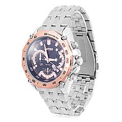 RETEO ronde hommes cadran analogique Quartz Steel Band eau Ressistant montre-bracelet