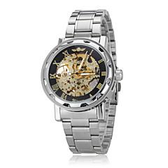 Auto-mecánico de la manera Hollow Caja Oro Skeleton acero banda reloj de pulsera para hombre (varios colores)
