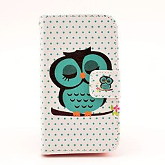 Sleeping Owl Pattern PU Leather Hard Case with Magnetic Snap and Card Slot for iPhone 4/4S