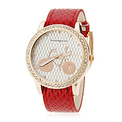 Women's Bicycle Pattern Snakeskin Style PU Band Quartz Analog Wrist Watch (Assorted Colors)