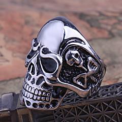 anillo de los hombres del cráneo de acero de titanio Rose® señorita