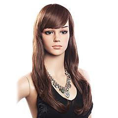 Vrouw Human Hair Capless Pruiken Dichtheid Met pony Pruik Lang Zijdeel
