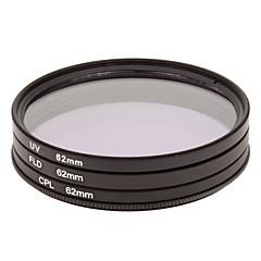 CPL + UV + Filtre FLD Définir pour appareil photo avec filtre Sac (62mm)