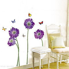 1PCS Colorful Butterflies over Flowers Enviromental Wall Sticker