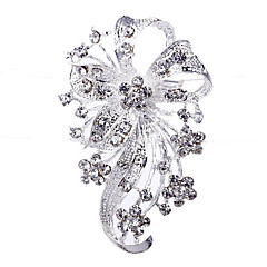 Estilo Casamento elegante chapeada prata strass broche (cor aleatória)