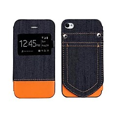 Denim Fabric Pattern Leather Full Body Case with Card Slot for iphone4/4S