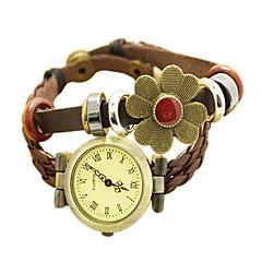 Vintage Flower Style de bande de cuir de la femme quartz à affichage analogique bracelet Brown