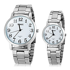 Couple's Simple Dial Design Round Dial Steel Band Quartz Analog Fashion Watch (Assorted Color)