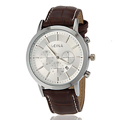 Men's Business Style Calendar Leather Band Quartz Wrist Watch (Assorted Colors)