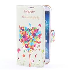 Kärlek Tree Deer Style PU Läderfodral med kortplats och Bordsställ till Samsung Galaxy S4 i9500