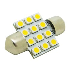 31mm 1W 12x3528 SMD 50lm 2800 ~ 3200K Warm White Light LED pære til bil Pinol Dome Læselampe (DC 12V)