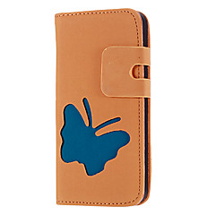 Butterfly Pattern Matte PU Leather Full Body Case with Card Slot and Stand for iPhone 5/5S (Assorted Colors)