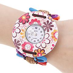 Women's Red Flower Pattern Wood Case Elastic Lovely Band Quartz Bracelet Watch