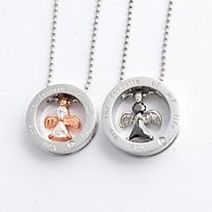 패션 원 모양과 CZ 다이아몬드 천사 커플 티타늄 스틸 펜던트 목걸이 (1 개)