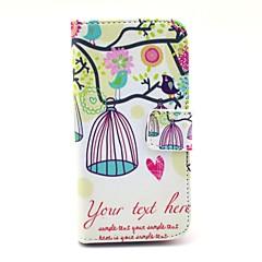 Pöllö Birdcage Pattern PU nahkainen korttipaikka ja jalusta Samsung Galaxy S4 mini I9190