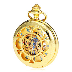 Men's Mechanical Hollow Cover Gold Alloy Pocket Watch Cool Watch Unique Watch