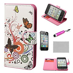 COCO FUN® Colorful Butterflies Wallet PU Leather Hard Cases with Stand for iPhone 4S included Film and Stylus
