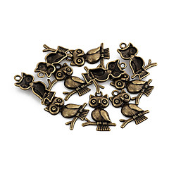 Vintage Owl Bronze Alloy Charms 10 Pcs/Bag