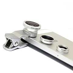 Universal Clip Lens Wide Angle + Macro + Fisheye Lens - Silver