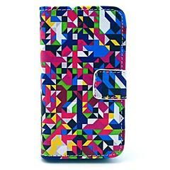 Monivärinen Geometry Pattern PU Full Body Case-korttipaikka iPhone 4/4S