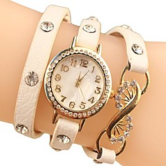 Dámská drahokamu Dial Chain PU kapela Quartz analogové módní náramkové hodinky (různé barvy)