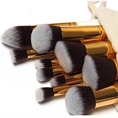10-delige professionele make-up kwastenset met gouden handvat en gratis etui met trekkoord