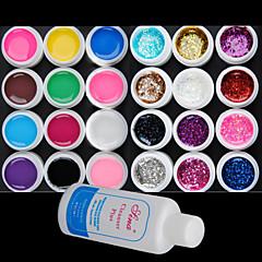 25PCS Mixs Farben UV Color Gel innerhalb von 12 Reine +12 Glitter Hexagon Blatt + Cleanser Plus (zufällige Farbe)