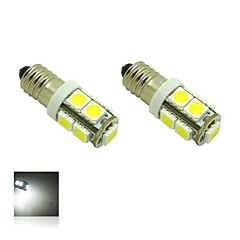 E10 2W 9X5050 SMD 6000K White Lights LED pære til DIY (DC 12V, 2-pack)