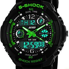 Herre Watch Japansk Quartz Sportsur LCD / Kalender / Kronograf / Vandafvisende / Dual Tidszoner / alarm Gummi Band Armbåndsur