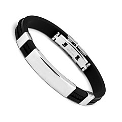 Bracelet Bangles,Men's Bracelet Black Stainless Steel Bracelet Fashion Jewelry Boyfriend Chrismas Gifts 1 pcs