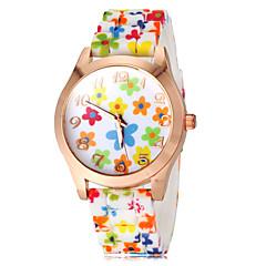 תבנית הפרח צבעונית של הנשים סיליקון בנד קוורץ שעון יד