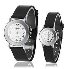 Couple's Simple Style Round Arabic Numerals Dial Black Rubber Band Analog Quartz Wrist Watch (Assorted Colors)