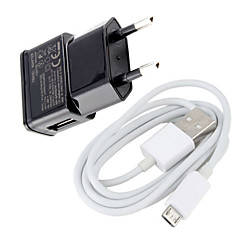 Euro Plug Micro USB Wall Charger with Micro USB Cable for Samsung Galaxy S3/S4 / Huawei / Xiaomi / and Other Cellphones