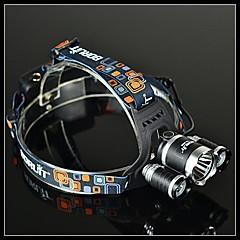 BORUIT RJ-3000 4 modus 3xCree XM-L T6 4000 Lumens oppladbar hodelykt (svart,2x18650) med 18650 batteri (2-pakning) og lader